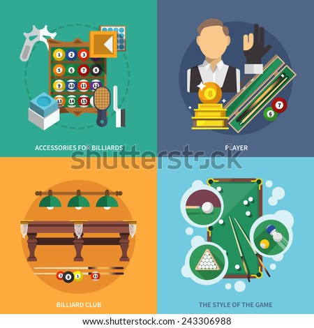 Billiards flat set with accessories player club style of game isolated vector illustration - stock vector
