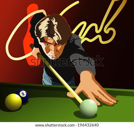 Billiards player Man playing billiards. Vector. - stock vector