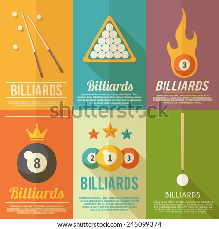 Billiards pool snooker accessories mini poster flat set isolated vector illustration - stock vector