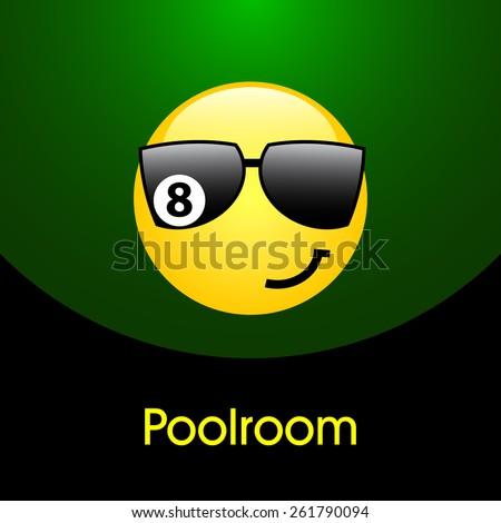 Billiards symbol vector sign poolroom design - stock vector