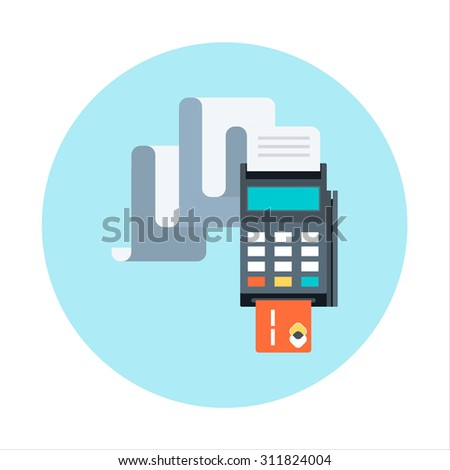 Billing, invoice, credit card payment theme, flat style, colorful, vector icon for info graphics, websites, mobile and print media. - stock vector