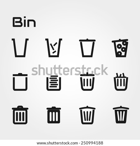 bin icons - stock vector