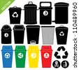 Bin silhouettes vector - stock photo