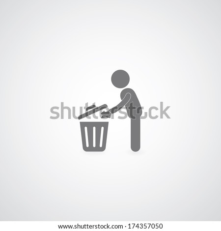 bin symbol on gray background  - stock vector