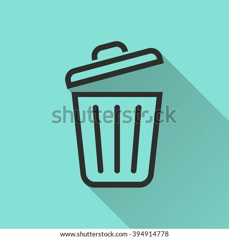 Bin    vector icon. Black  illustration isolated on green  background for graphic and web design. - stock vector