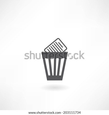 bin with documents icon - stock vector