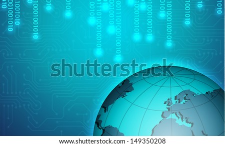 Binary background with planet. EPS10 vector - stock vector