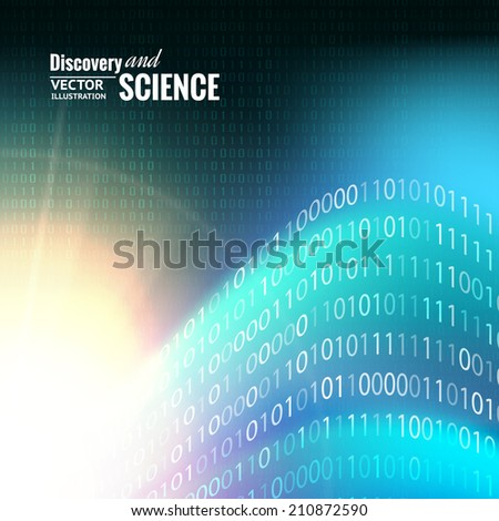 Binary code abstract for science background. Vector illustration. - stock vector