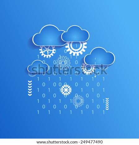 Binary code concept. Cloud computing and binary rain. - stock vector