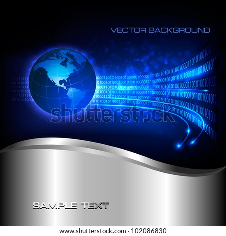Binary code flowing behind the globe.  Concept of global programming. Vector background. - stock vector