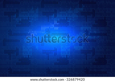 Binary code on blue glowing background - stock vector