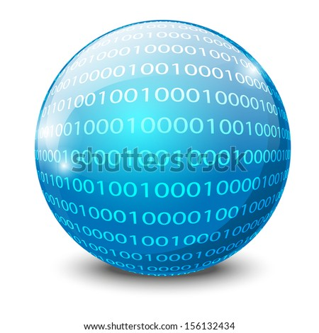 Binary code on glossy ball - stock vector