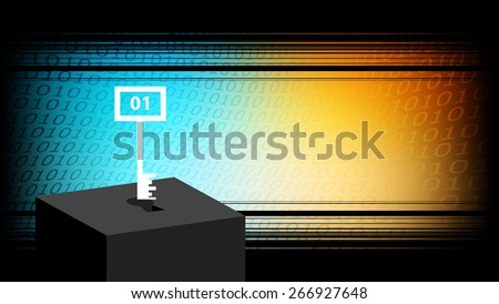 Binary code security key, password, internet technology background. - stock vector