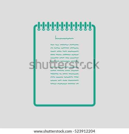 Binder notebook icon. Gray background with green. Vector illustration.
