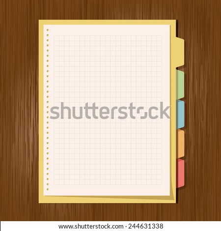 Binder with note paper on wood background. - stock vector