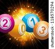 Bingo ball new year background with starburst - stock vector