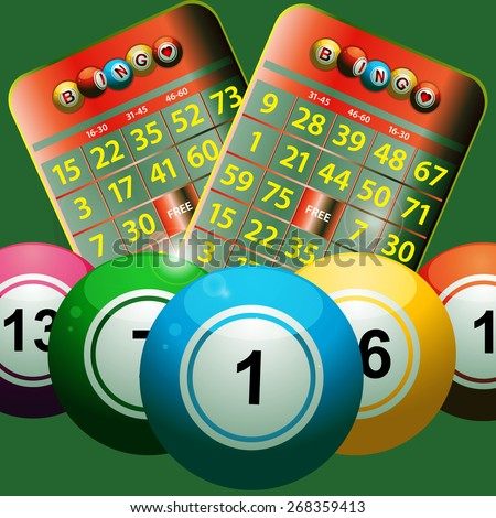 Bingo Balls and Bingo Cards on a Green Background