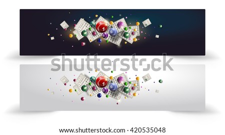 Bingo Balls and Cards Design on a Glowing Blue Background. Bingo balls and cards are flying on shiny background. Bingo or lottery vector design. Baner or site head design. - stock vector