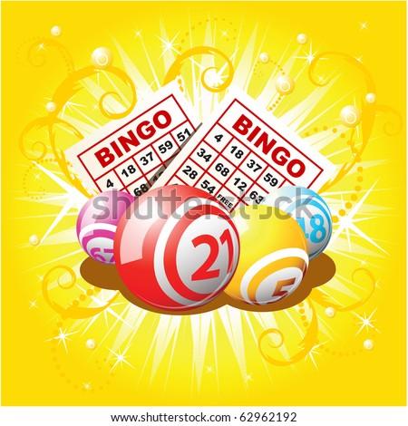 Bingo balls and cards on golden background - stock vector