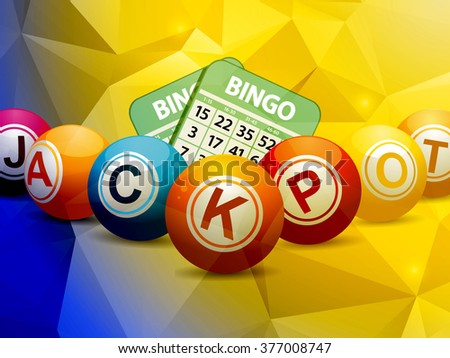 Bingo Balls and Cards Over Geometric Blue and Yellow Background