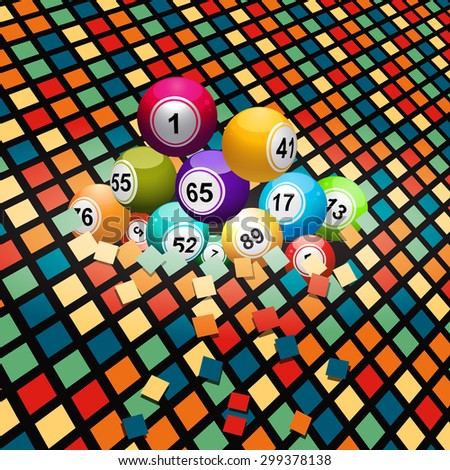 Bingo Balls Breaking a Colored Wall Tiles Background