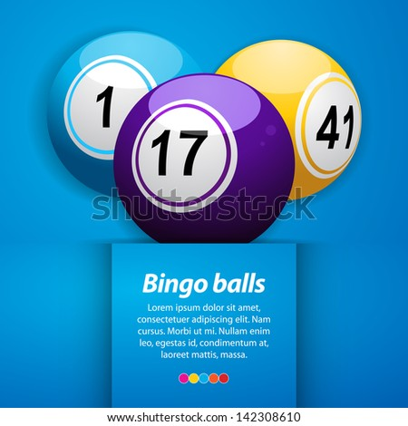 Bingo Balls on a Blue Background with Sample Text - stock vector