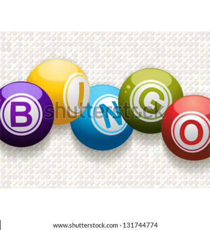Bingo balls on a white mosaic background - stock vector