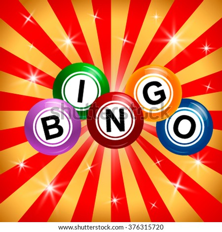 Bingo balls with the inscription on the background of the light rays and stars. - stock vector