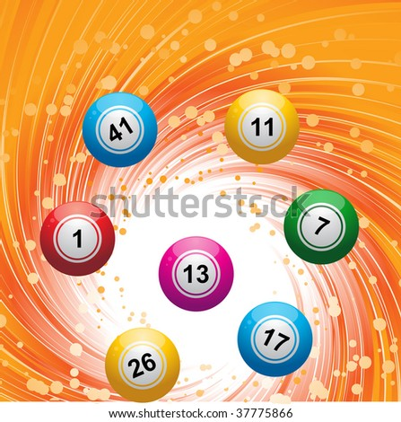 Bingo / lottery balls on a swirling gold background