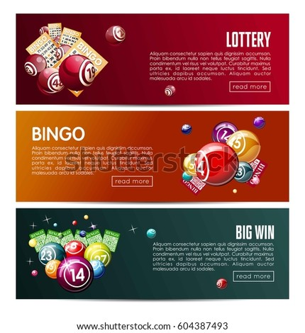 Bingo Lotto Lottery Web Banners Templates Stock Vector (Royalty Free ...