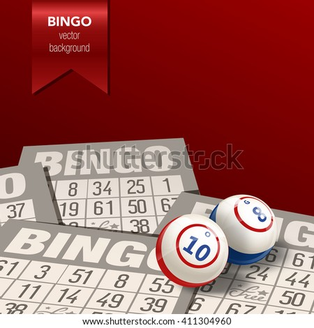 Bingo or Lottery  Background. Balls and Cards. Vector Illustration. - stock vector