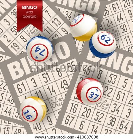 Bingo or Lottery  Background. Bingo Balls and Cards. Bingo Vector Illustration background. Bingo background with balls and cards. Bingo game design. - stock vector