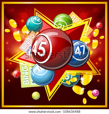 Bingo or lottery balls and cards. - stock vector