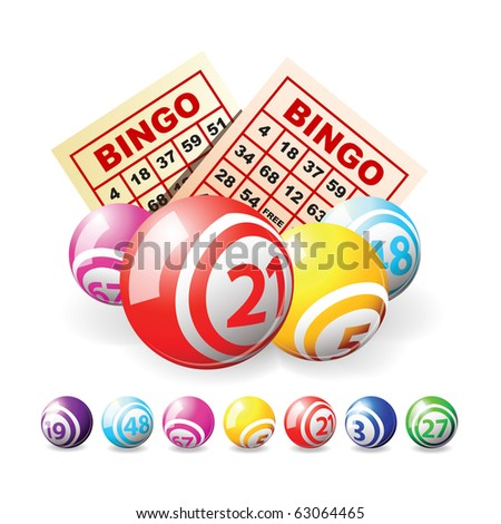 Bingo or lottery balls and cards isolated over white - stock vector