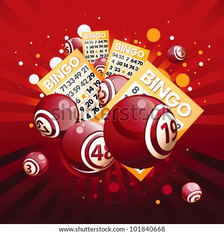 Bingo or lottery balls and cards on red background. - stock vector