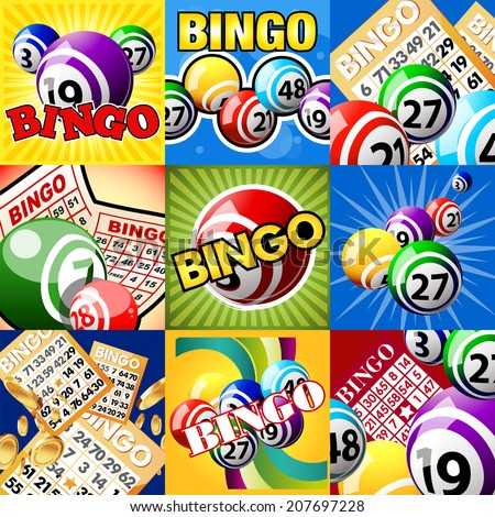 Bingo or lottery balls and cards. The set of designs - stock vector