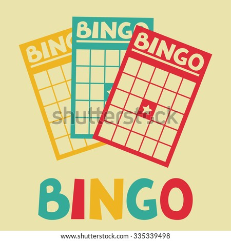 Bingo or lottery retro game illustration with cards. - stock vector