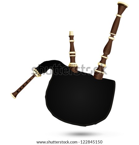 Biniou koz - traditional breton cornemuse, musical instrument - stock vector