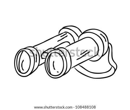 binocular doodle - stock vector