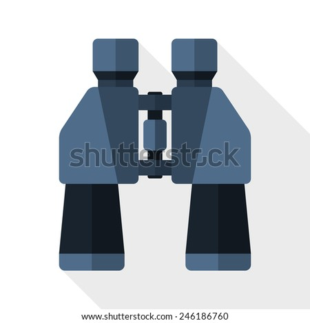 Binoculars flat icon with long shadow on white background - stock vector