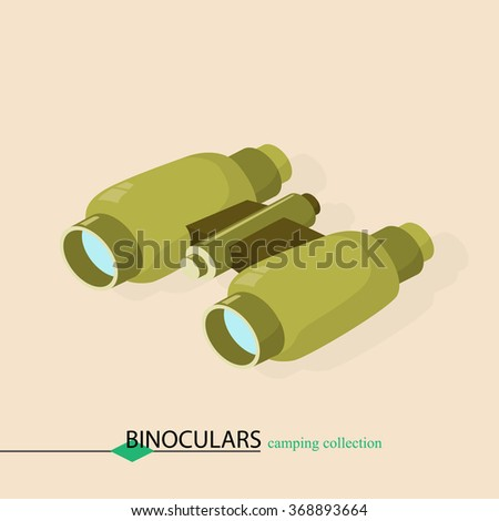 binoculars for approaching objects. Isometric vector illustration. - stock vector