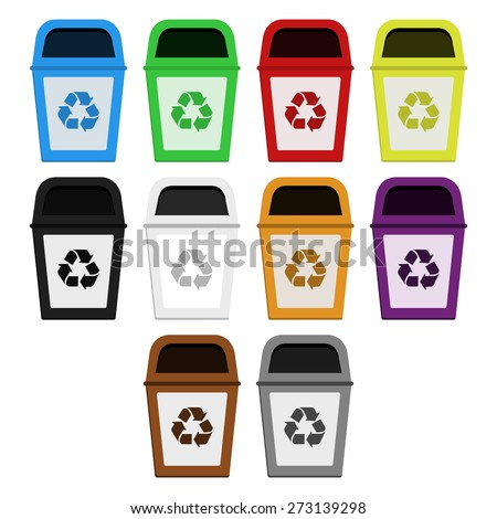 Bins of selective collection. Colored bins for selective collection of paper, plastic, glass, metal, wood, medical waste, radioactive waste, organic waste - stock vector