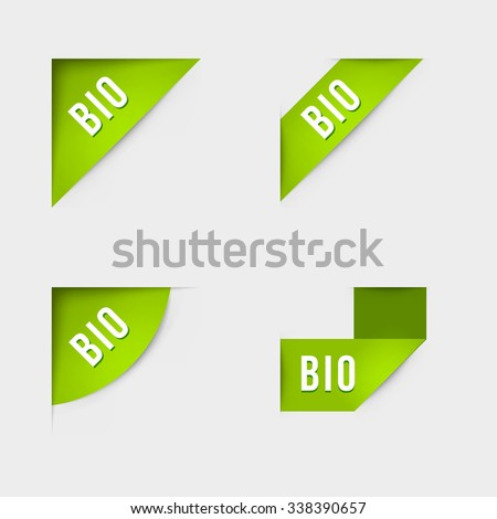 Bio and Bio product labels. Isolated vector illustration.
