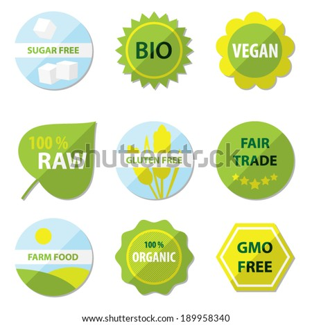 Bio and healthy food labels - stock vector