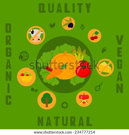 Bio and healthy food vector icon - stock vector