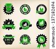 Bio badge design set of nine in green and black - stock vector