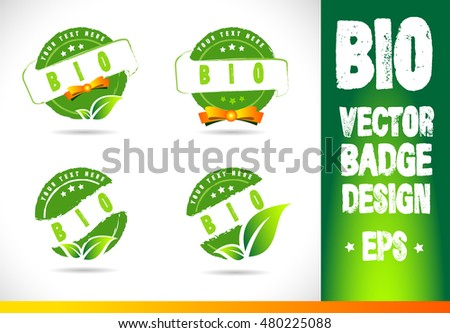 Bio Badge Logo label seal stamp logo text design green leaf template vector eps