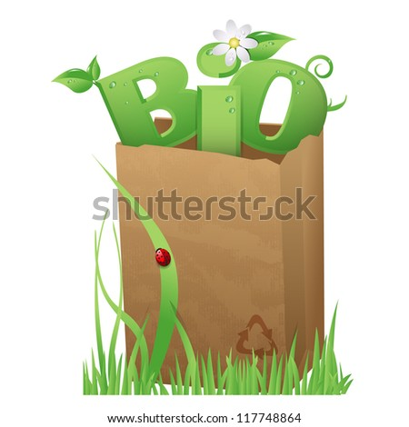 Bio bag/Recycled paper bag with fun Bio text in it - stock vector