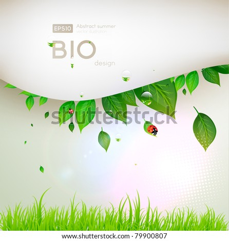 bio concept design eco friendly for summer floral banner - stock vector