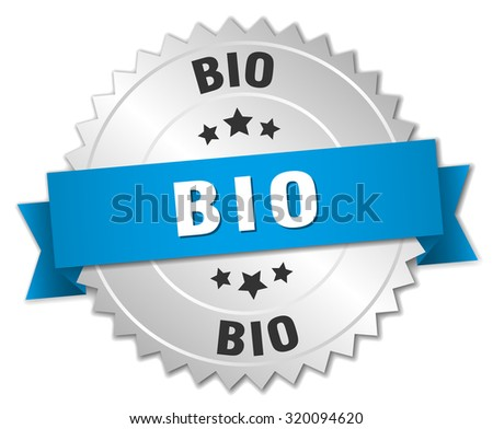 bio 3d silver badge with blue ribbon